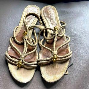 Alexander Mcqueen gold tone sandal